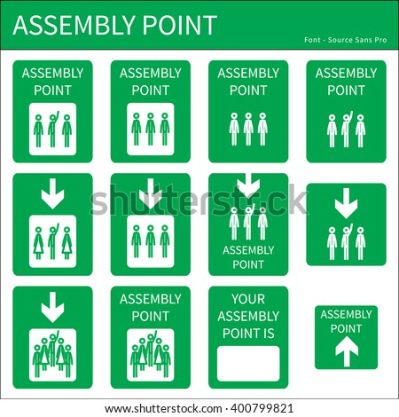assembly point - stock vector