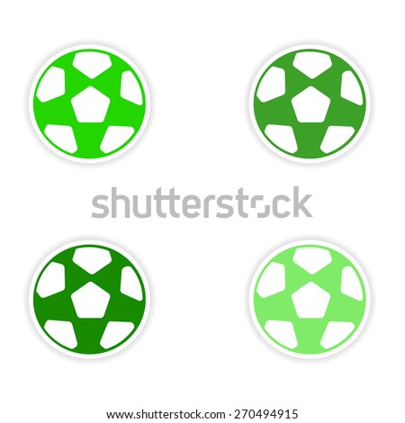 assembly realistic sticker design on paper football  - stock vector