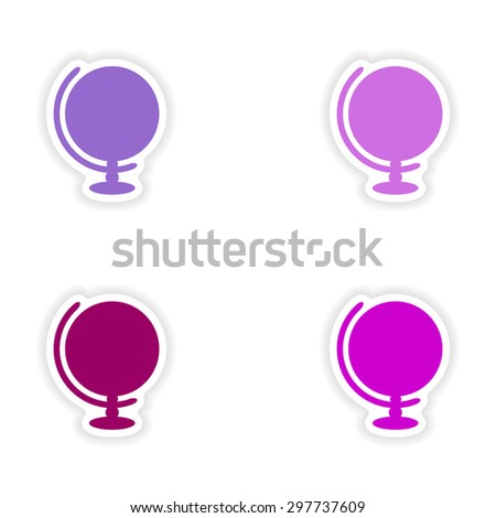 assembly realistic sticker design on paper globe - stock vector