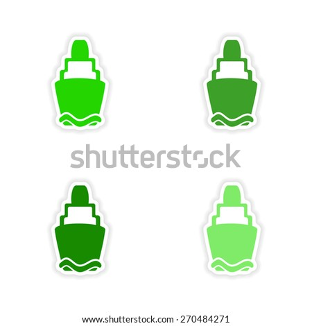 assembly realistic sticker design on paper lighthouses  - stock vector