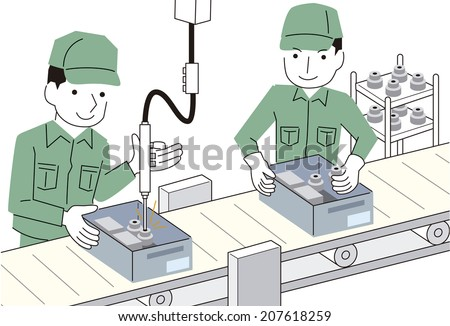 Assembly work - stock vector