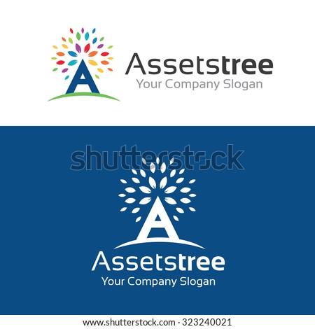 Assents Tree logo,Tree logo,A letter logo,Vector Logo Template - stock vector