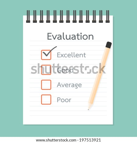 Assessment book and Quality Check - stock vector