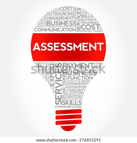 Assessment bulb word cloud, business concept - stock vector