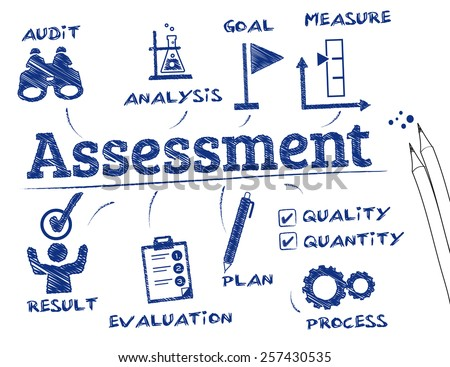 Assessment. Chart with keywords and icons - stock vector
