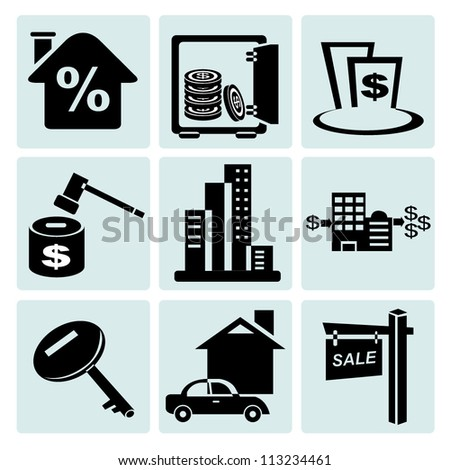 asset management, real estate icon set - stock vector