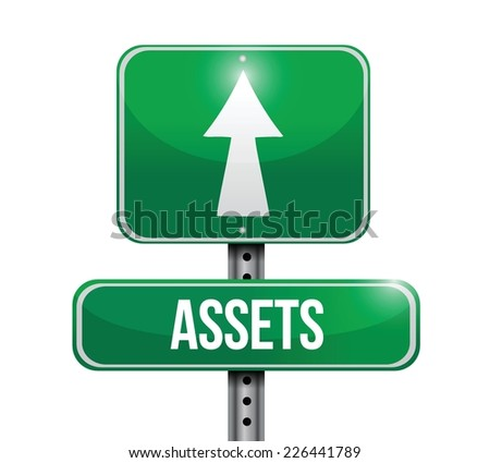 assets street sign illustration design over a white background - stock vector