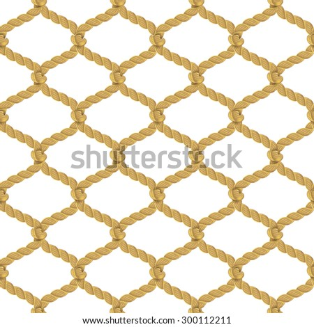 Associated twisted ropes net with rhombic cell realistic color decorative seamless pattern vector illustration