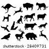 assorted animal silhouettes bear bison dog and deer - stock vector
