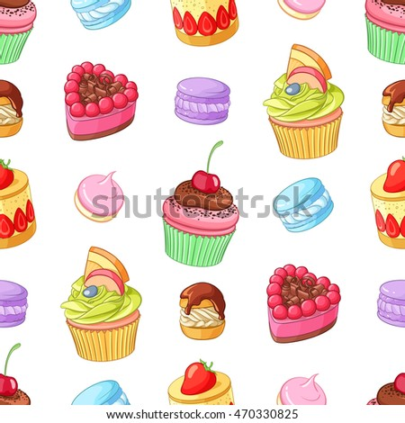 Assorted bright colorful desserts, cupcakes and macaroons. Seamless vector pattern isolated on white background.