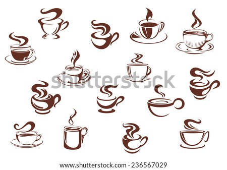 Assorted brown cups of hot coffee in sketch style isolated on white for cafe and restaurant menu design - stock vector