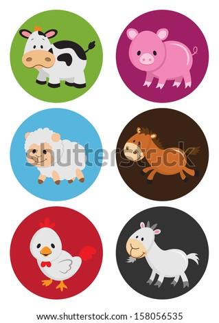 Assorted Cartoon Farm Animals (VECTOR) - stock vector