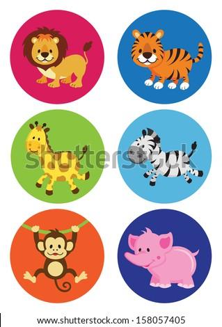 Assorted Cartoon Wild Animals (VECTOR) - stock vector