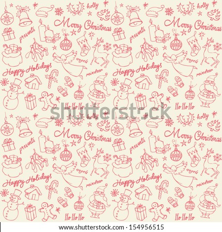 Assorted Christmas icons doodle seamless background  - stock vector