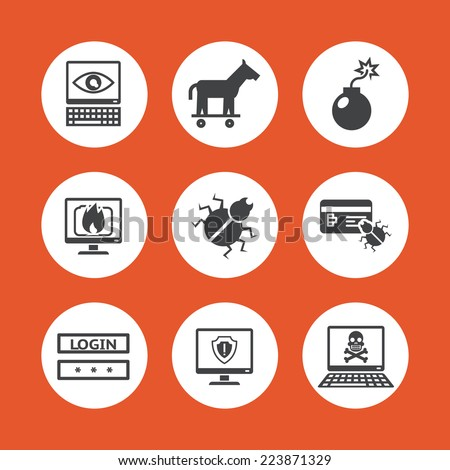 Assorted Computer Threats Icons Isolated on Orange Background - stock vector