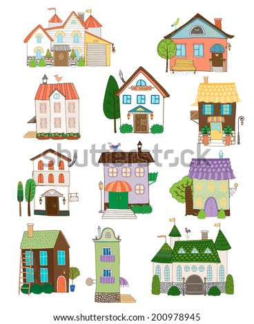 Assorted cute houses collection on white background - stock vector