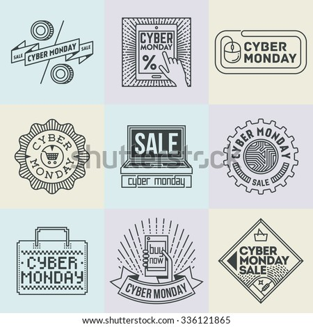 Assorted Cyber Monday Insignias Logotypes Template Set. Line Art Vector Elements. - stock vector