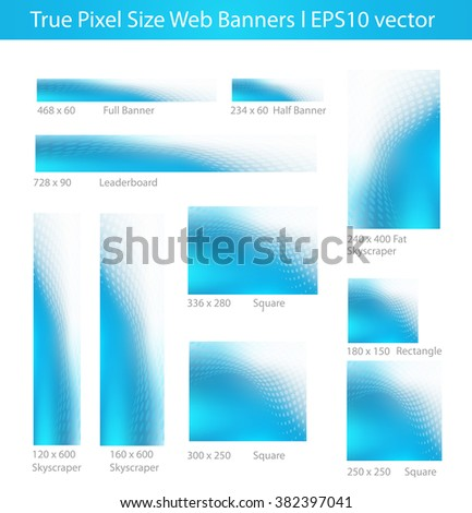 Assorted EPS10 Vector Abstract Pixel Size Media Banners in Gradient Cool Blue with Swirling Diamonds Graphic - stock vector
