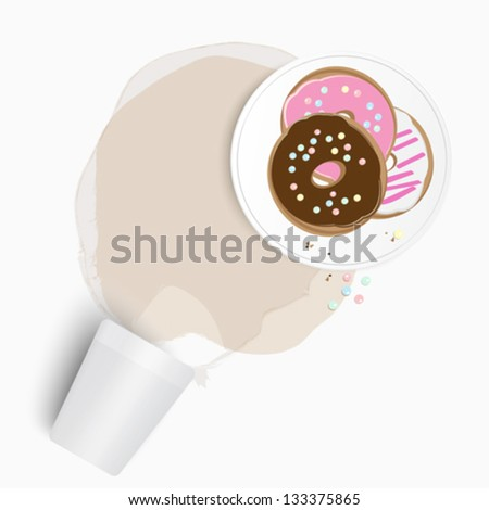 Assorted fresh donuts, or doughnuts, with a chocolate one on top served on a plate standing on a stain of spilled tea or coffee from an overturned cup - stock vector