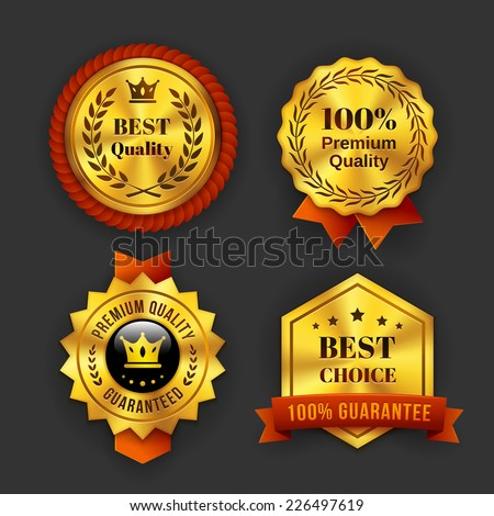 Assorted Gold Guaranteed Business Labels Isolated on Gray Background. - stock vector