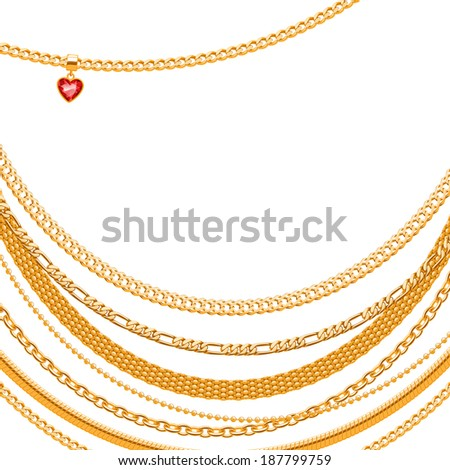Assorted golden chains on white background with heart gemstone pendant. - stock vector
