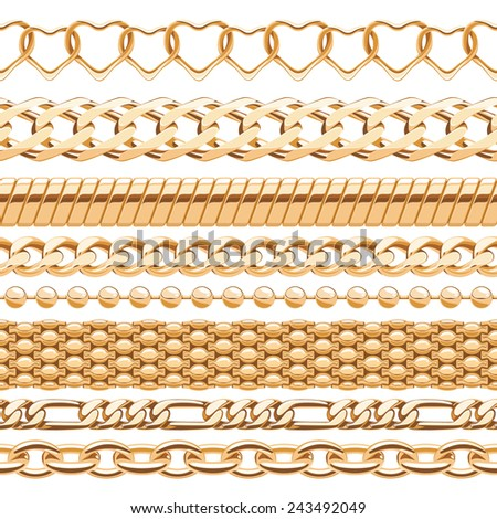Assorted golden chains on white seamless background. Pale yellow metal. Vector brushes. - stock vector