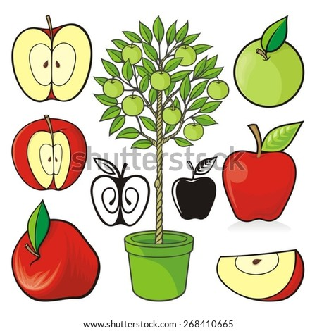 Assorted hand drawn colored apple icons and an apple tree isolated on white background.