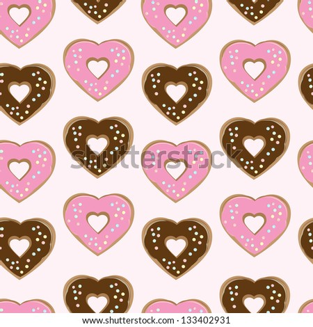 Assorted heart shaped doughnuts glazed with chocolate and pink icing topped with colourful sprinkles arranged in a seamless background pattern of repeat rows with alternating colours - stock vector