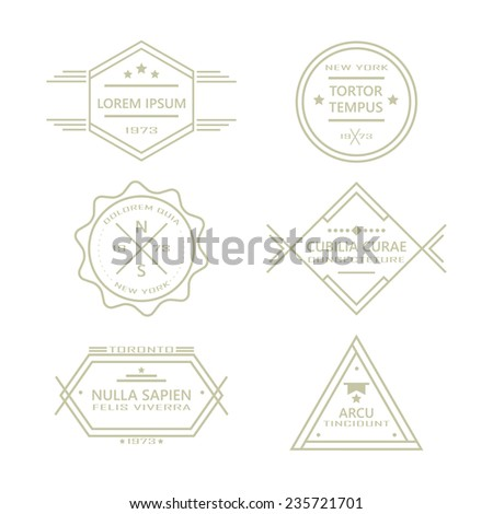 Assorted line vintage retro badges and labels collection on white background - stock vector