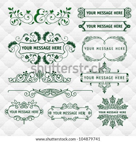 assorted natural fillet and frames with seamless upholstery texture - stock vector