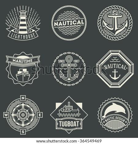 Assorted Nautical Logotypes Set. Thin Line Art Vector Vintage Style Elements. Elegant Geometric Design. - stock vector