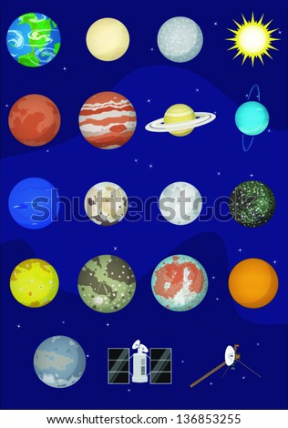 Assorted Planets and Satellites in the Solar System - stock vector