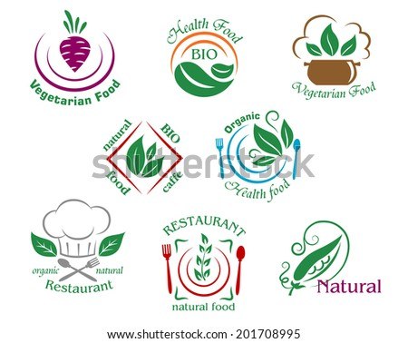 Assorted restaurant and vegetarian food symbols logo depicting vegetarian food, health food, natural bio food cafe, organic health food, restaurant natural food and natural suitable for food industry - stock vector