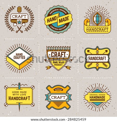Assorted retro design color insignias logotypes set 15. Vector vintage elements. - stock vector