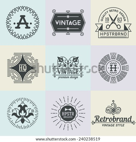 Assorted retro design insignias logotypes set 4. Vector vintage elements.   - stock vector