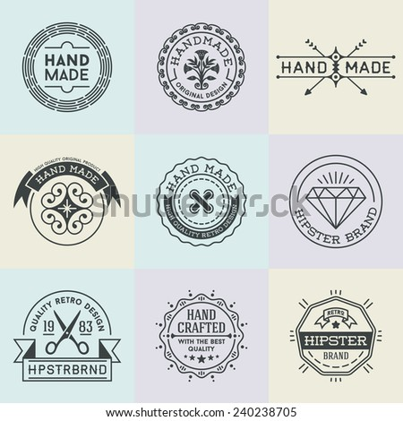Assorted retro design insignias logotypes set 3. Vector vintage elements.   - stock vector