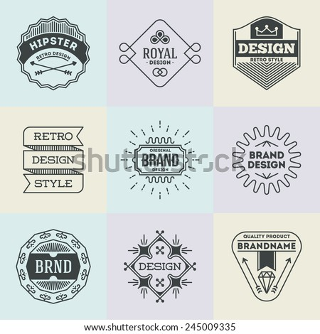 Assorted retro design insignias logotypes set 9. Vector vintage elements. - stock vector