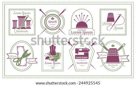 Assorted Retro Tailor Labels or Needleworks Emblems Graphic Designs on White Background. - stock vector