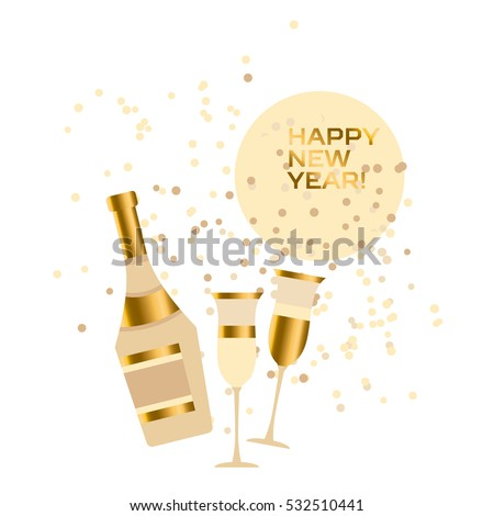 assorted sparkling wine glasses and bottles. champagne concept flat vector illustration.  festive wedding wineglass and wine-bottle silhouette design.