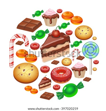 Assorted sweets colorful background with chocolate Lollipops, cake, cookies candies and donut  Sweet shop. - stock vector
