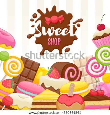 Assorted sweets colorful background with chocolate splash drop blot. Lollipops, cake, macarons, chocolate bar, candies and donut on shine background. Sweet shop. - stock vector