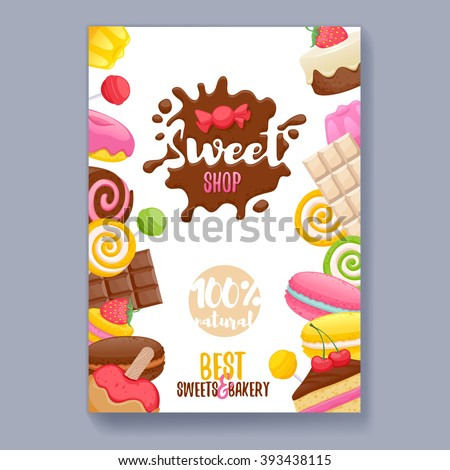 Assorted sweets colorful background with chocolate splash drop blot. Lollipops, cake, macarons, chocolate bar, candies and donut on shine background. Sweet shop. Poster cover design. - stock vector