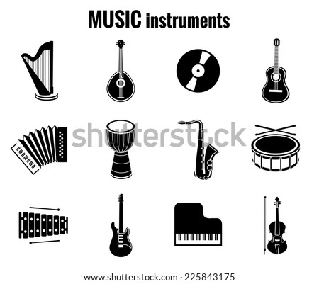 Assorted Vector Black Music Instrument Icons on White Background - stock vector