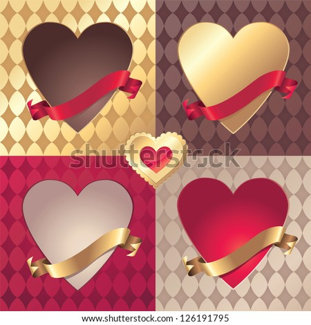 assorted vector Valentine heart banner and ribbon tag collection
