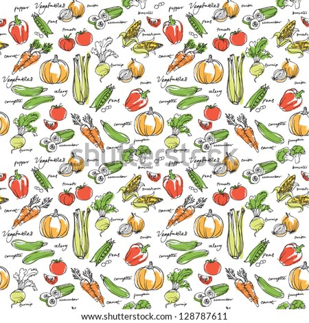 Assorted vegetables seamless background - stock vector