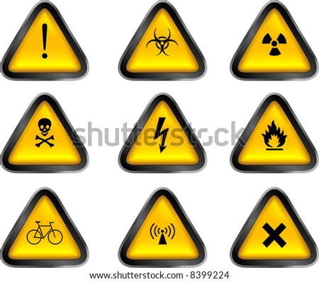 Assorted Warning Buttons - stock vector
