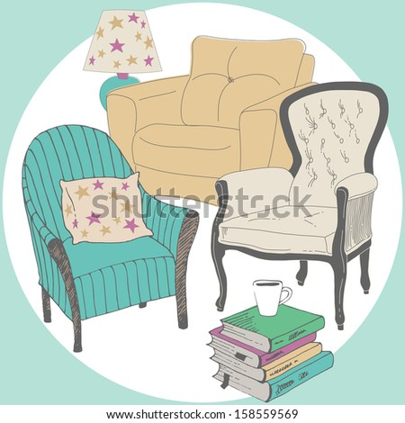 Assortment of armchairs for reading - stock vector