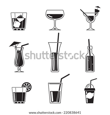 Assortment of Black Cocktail Icons on White Background - stock vector