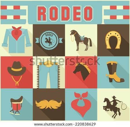 Assortment of Colorful Rodeo Themed Icons in Grid Pattern - stock vector