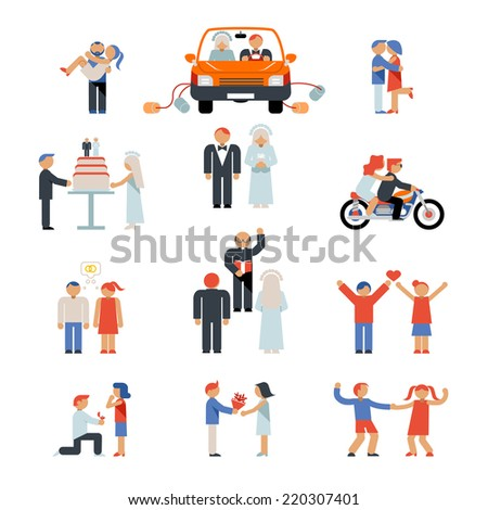 Assortment of Colourful Couple Icons Illustrating Stages of a Relationship - stock vector